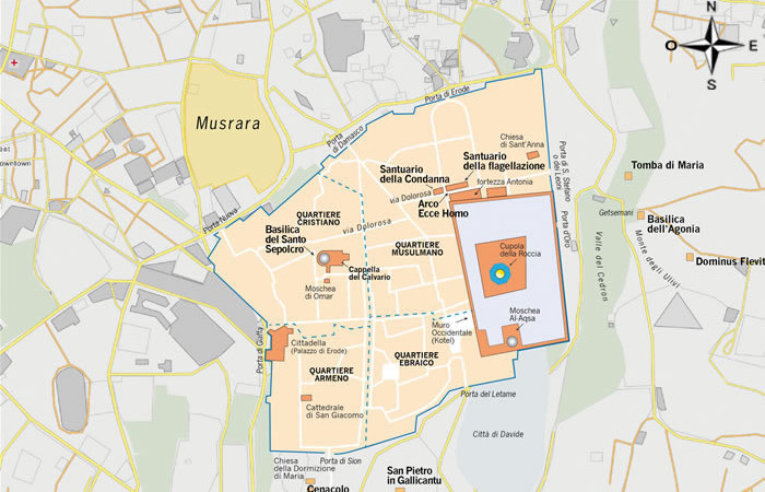 La mappa indica la posizione del quartiere di Musrara rispetto al centro storico di Gerusalemme.