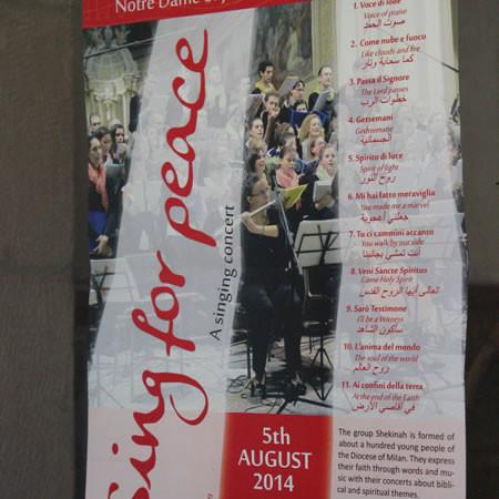 La locandina annuncia il coro <i>Shekinah</i> al Centro Notre Dame di Gerusalemme.
