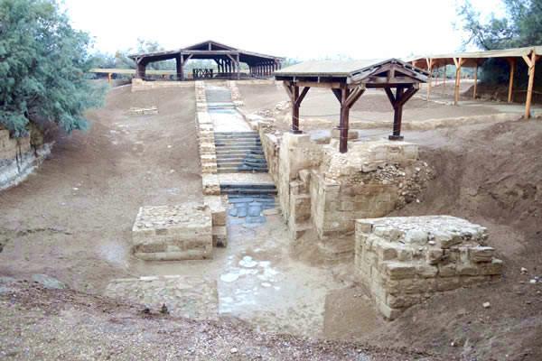 Sito del Battesimo a Betania oltre il Giordano. Ciò che resta dell'antica area battesimale cristiana.