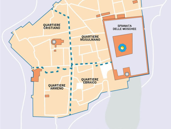 Nella mappa i quartieri della Gerusalemme Vecchia. Nell'area sud-orientale il quartiere ebraico.