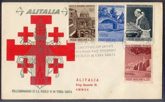 I quattro francobolli della Città del Vaticano su busta volata ad Amman. (galleria fotografica 1/3)