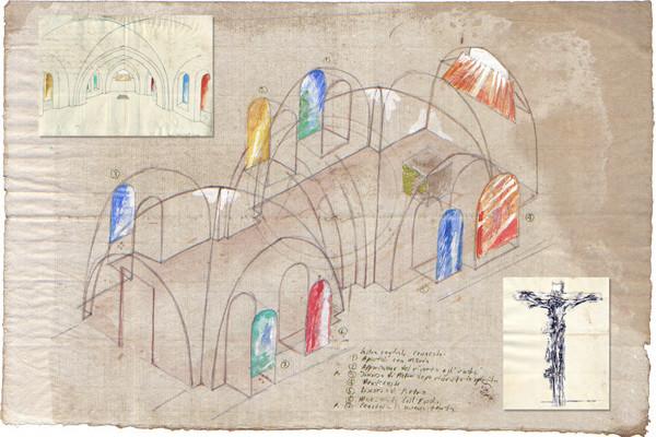 Estudios para la capilla del convento franciscano junto al Cenáculo, M. Canzoneri, 2012