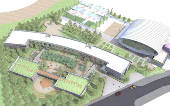 Il disegno offre una visione complessiva del complesso scolastico di Kfar Saba, progettato dall'architetto Knafo Klimor. [1/4]