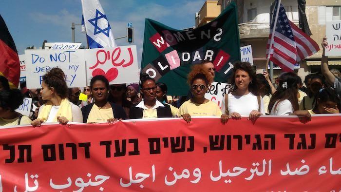La testa della manifestazione del 9 marzo a Tel Aviv in favore dei profughi africani. (galleria fotografica di B. Guarrera)