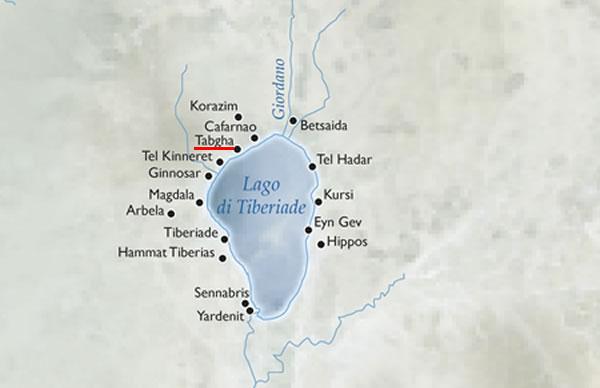 Sulla mappa del lago di Tiberiade evidenziamo Tabgha, una delle mete classiche dei pellegrinaggi cristiani.