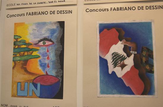 Due delle opere presentate al concorso di disegno indetto dal<i> Fabriano Art Center</i> nelle scuole libanesi.