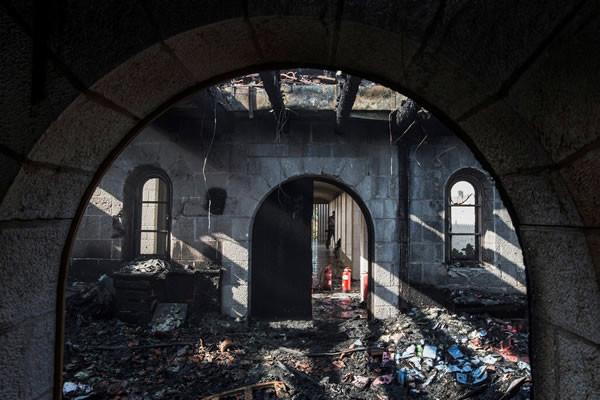 I danni al santuario dei benedettini sono ingenti.