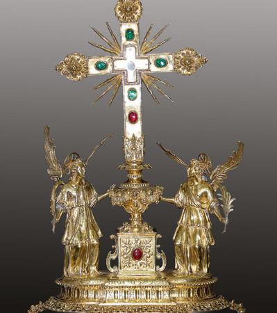 Stauroteca, o reliquiario della vera croce, 1628. Argento fuso, cesellato e dorato.