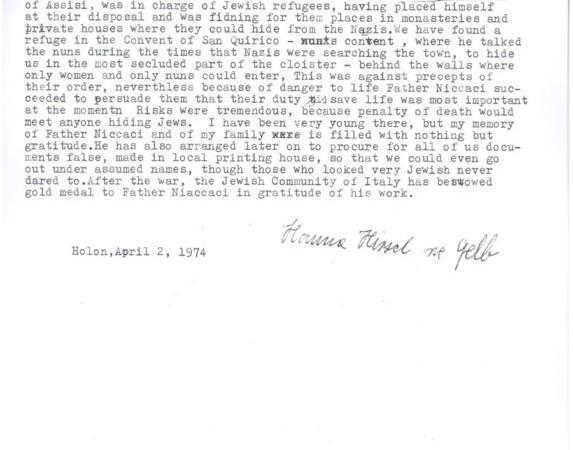La testimonianza scritta, tradotta in inglese, di Hannah Hirsh in favore di padre Niccacci (archivi Yad Vasehm).