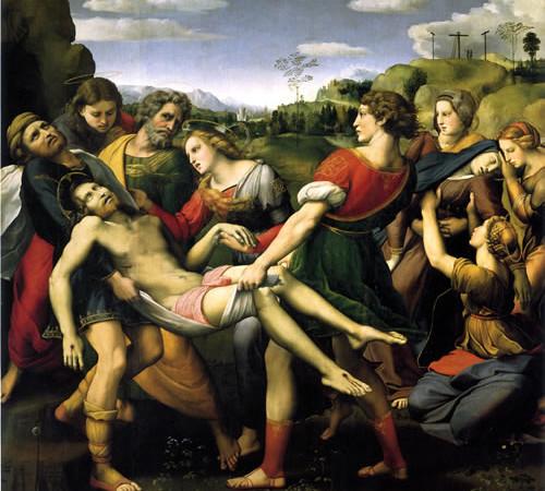 Raffaello, <i>Deposizione</i>, la Pala Baglioni, del 1507, esposta alla Galleria Borghese, a Roma.