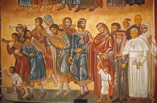Uno dei dipinti che adornano la chiesa del Centro Regina Pacis. (foto C. Giorgi)