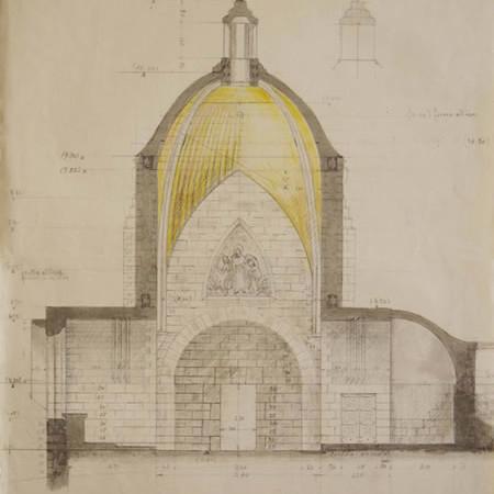 Disegno a lapis e pastelli colorati su carta per questo prospetto e sezione interna della chiesa del Dominus Flevit, a Gerusalemme.