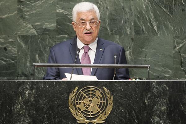 Il presidente palestinese Mahmoud Abbas all'Assemblea generale dell'Onu il 26 settembre scorso. (UN Photo/Amanda Voisard) [1/2]