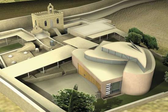Il plastico della nuova chiesa di Betlemme. Il tempio sorge a pochi passi dalla basilica della Natività.