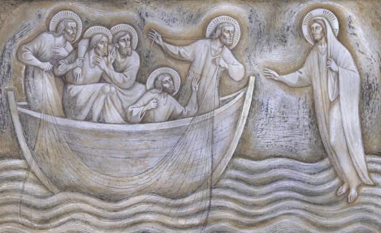Il quadro del pittore Piero Casentini che rappresenta Gesù che cammina sulle acque.