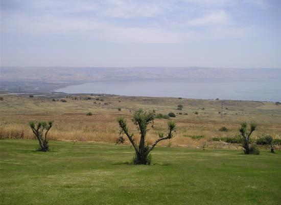 Veduta del Lago di Tiberiade dal verde che circonda la<i> Domus Galilaeae. </i>(foto A. Sobkowski)