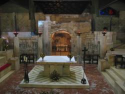 Lavori in corso alla grotta dell'Annunciazione