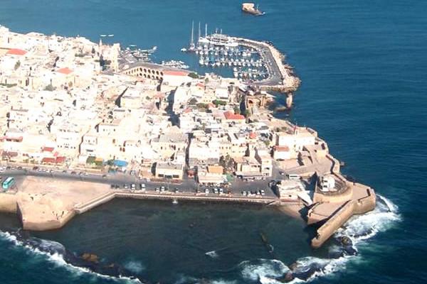 Una veduta aerea della città di Akko, sulla costa del Mediterraneo nel nord di Israele. [1/2]
