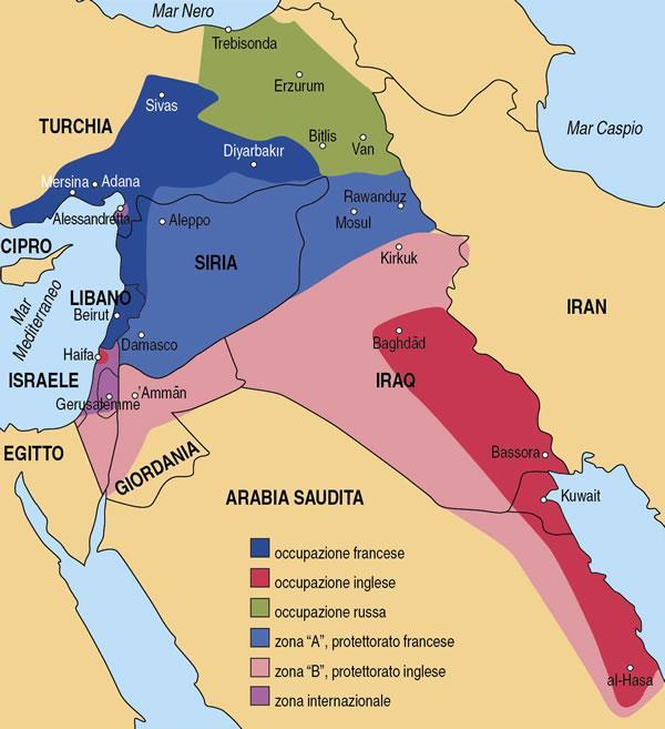 Cartina Europa E Medio Oriente.La Spartizione Del Medio Oriente Terrasanta Net