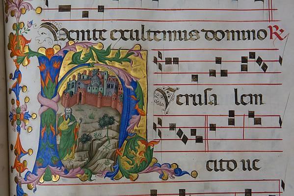 Un codice miniato anch'esso proveniente dal patrimonio della Custodia.