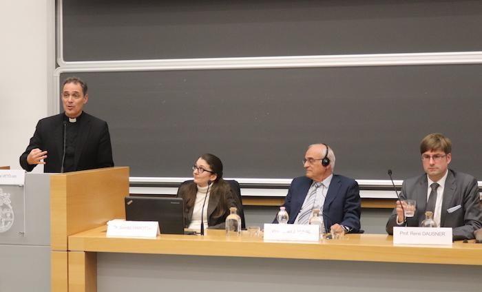 I relatori del 7 novembre 2018 alla Gregoriana. Da sinistra.: Etienne Vetö, Saretta Marotta, Israel J. Yuval, René Dausner.