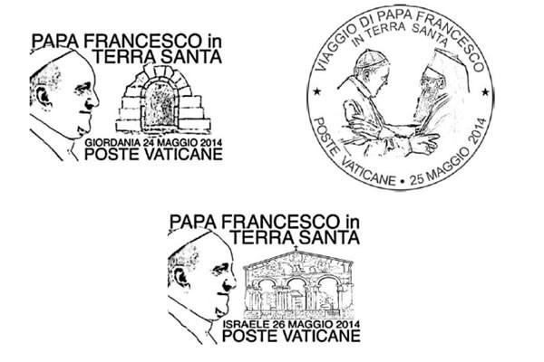 Gli speciali annulli del Vaticano nelle date del viaggio di Papa Francesco in Terra Santa.