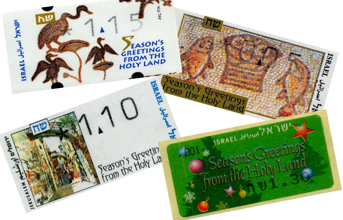 Una galleria dei francobolli automatici israeliani emessi in occasione del Natale negli anni scorsi.