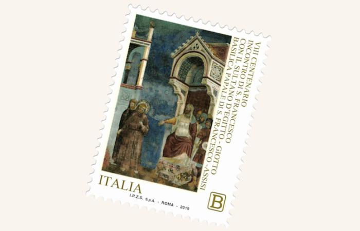Il francobollo celebrativo dell'incontro di Damietta emesso nei giorni scorsi dalle Poste italiane.