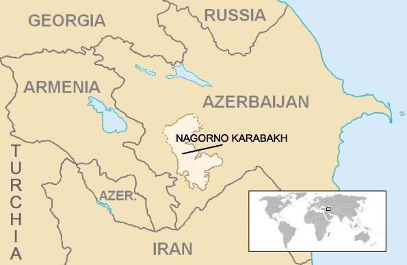 La posizione geografica del Nagorno Karabakh.