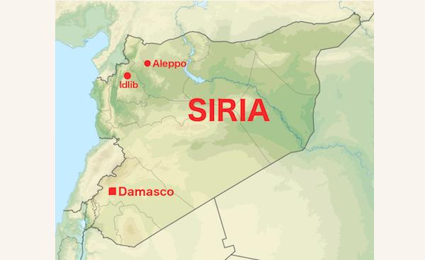 Idlib contrassegnata su questa mappa essenziale della Siria.