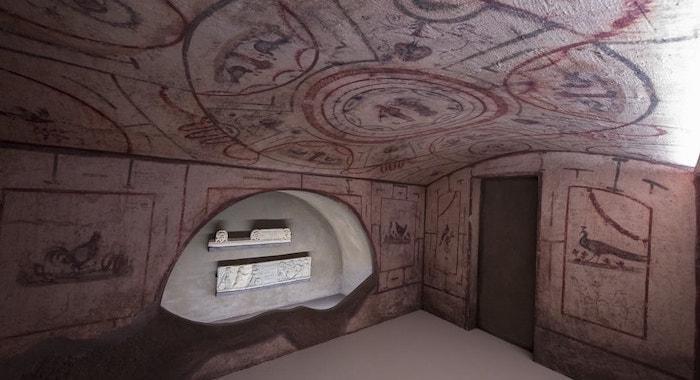La ricostruzione di un ambiente delle catacombe ebraiche di Vigna Randanini, in Roma. (foto Marco Caselli Nirmal)