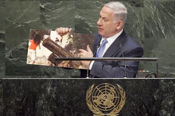 La dura replica del premier israeliano Benjamin Netanyahu tre giorni dopo. (UN Photo/Amanda Voisard)