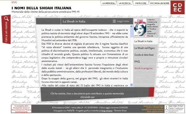 Italia e <i>Shoah</i>, un memoriale in Rete
