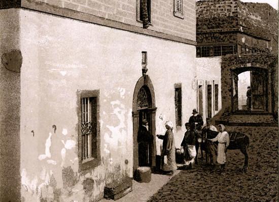 L'ospizio francescano per pellegrini a Tiberiade, in un disegno di fine Ottocento.