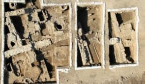 Un'immagine dei resti dell'edificio bizantino recentemente riportato alla luce dagli archeologi dell'Autorità israeliana per le antichità.