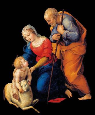 Raffaello, <i>Sacra famiglia con agnello</i>, Museo del Prado, Madrid (rielaborazione grafica di un dettaglio) [fotogallery 1/8]