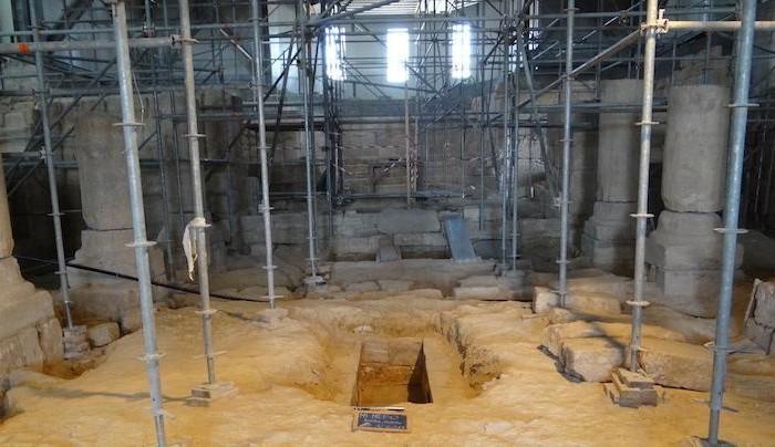 Anche l'interno del Memoriale di Mosè in versione cantiere.