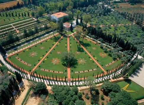 Acri, Israele. Veduta aerea del luogo della sepoltura di Bahaullah.