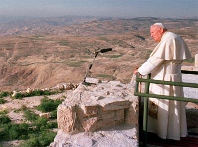 Monte Nebo (Giordania): 20 marzo 2000, Giovanni Paolo II inizia proprio da qui il suo pellegrinaggio giubilare in Terra Santa.