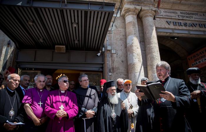 Le Chiese di Terra Santa con Theophilos III, preghiera pubblica alla Porta di Jaffa