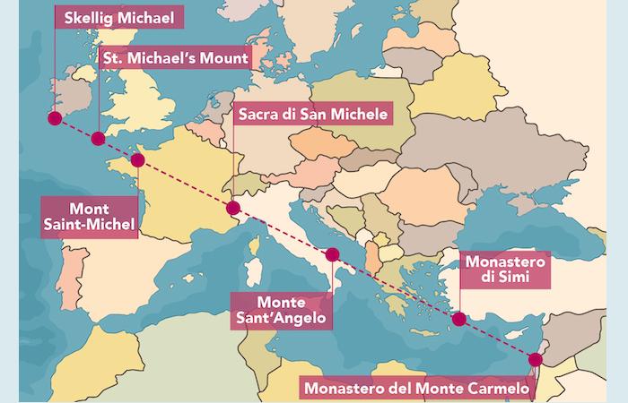 La «linea micaelica» e i sei luoghi dedicati all'Arcangelo allineati.