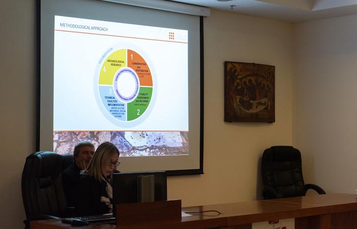Un momento della presentazione della nuova fase di restauri al Santo Sepolcro. (foto Cts/N.Asfour)