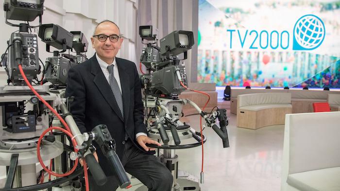 Il giornalista Vincenzo Morgante negli studi romani di TV2000, che dirige dal 2018. (foto S. Casellato/Tv2000)