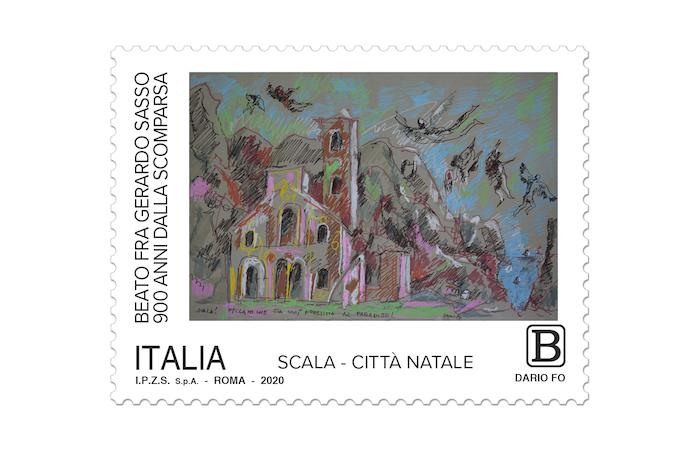Il francobollo con disegno di Dario Fo.