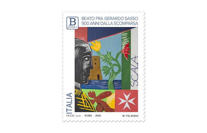 Il francobollo celebrativo firmato da Mimmo Paladino.
