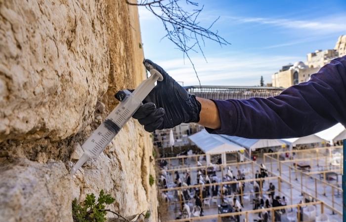 Iniezioni  per risanare il <i>Kotel</i>. (galleria fotografica di Yaniv Berman/Israel Antiquities Authority)
